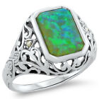 GREEN LAB OPAL & PEARL ANTIQUE VICTORIAN DESIGN .925 STERLING SILVER RING,  #279