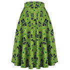 Voodoo Vixen 1950s Vintage Kitsch Green Cute Cat Lover Flared Mid Length Skirt