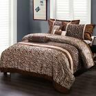 7pcs Colorful Checks Leopard Print Pattern Bed-in-a-bag Comforter Set Queen/King