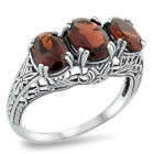 GENUINE GARNET 3 STONE .925 STERLING SILVER ANTIQUE STYLE RING,   #249