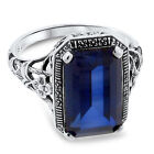 9 Ct BLUE LAB SAPPHIRE ANTIQUE STYLE .925 STERLING SILVER FILIGREE RING,  #56