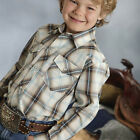 Roper Boys Cream with Brown and Turquoise Plaid Shirt 01-030-0101-0387