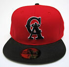 California Angels Of Anaheim Red On Black All Sizes Fitted Cap Hat by New Era