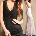 Half Lined Wedding Padded Womens Lace Evening Gown Formal Party Bridesmaid Dress