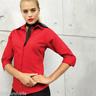 PREMIER LADIES 3/4 SLEEVE POPLIN SHIRT BLOUSE, SIZE 6 TO 26, 8 COLOURS