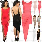 Womens Ladies Sleeveless Asymmetric Cut Out Backless Drapped Bodycon Midi Dress
