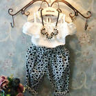 2015 Toddler Baby Kids Girls Lace Tops Shirt+Casual Harem Pants Outfits Set 2-7Y