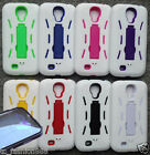 Phone Cover Case ARMOR WHITE w/ BUILT IN SCREEN PROTECTOR FOR Samsung Galaxy S4