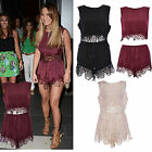 Girls Celeb Lace Crochet Trim Crop Top Mini Shorts Set Two Piece Festival Co Ord