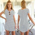 Fashion Women Short Sleeve Striped Casual Long T Shirt Sexy Mini Dress