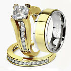 His & Hers 3Pc Stainless Steel 14k Gold Plated Engagement Wedding Ring Bands Set