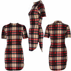 Women Ladies Sexy Short Sleeve Bodycon Red Check Print Side Cut Dress UK Sizes