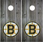 Boston Bruins Vintage Wood Background Cornhole Board Decal Wrap Wraps $69.95 USD on eBay