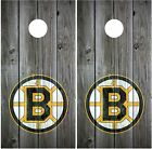 Boston Bruins Vintage Wood Background Cornhole Board Decal Wrap Wraps $54.95 USD on eBay