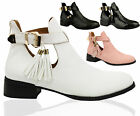 Ladies Women Buckles Gold Trim Cutout Chunky Chelsea Ankle Boots Croc Shoes Size