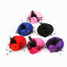 New Fashion 1 PC Bride Brushed Mesh Roses Mini Feathered Hat For Wedding