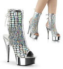 "DELIGHT-1018HG 6"" Heel Pleaser Peep Toes Silver Hologram Ostrich Ankle Boots"