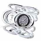 1x Luxury Womens Double Ring Quartz Analog Wrist Watch Cuff Bangle Bracelet Gift