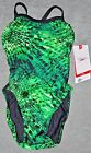 Speedo swimsuit one-piece bathing suit Black Endurance Racing 26 XXS New Green 0