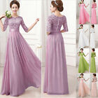 2015 Cheap Long Maxi Chiffon Lace Bridesmaid Formal Ball Gown Evening Prom Dress