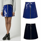 Women Ladies Celeb Pu Wet Look Leather Zip Front Shiny Short Mini Skirt 6-14