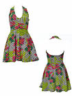 Summer Womens Tropical Print Halterneck Ladies Flared Skater Mini Skirt Dress