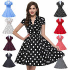 Womens 40's 50's Vintage Blue BLACK RED+ Wrap Top Flared Swing Party Dress XS-XL