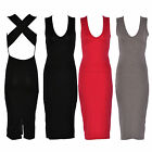 New Season Women Party Casual Plain Black Bodycon Cross Back Midi Dress Black