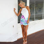 Women Sexy White Short Mini Bodycon Bandage Dress Floral Party Cocktail Evening