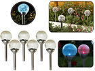 Solar Powered LED Colour Changing Garden Lights Stainless Steel Crackle Ball Orb