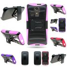For Kyocera Hydro Icon Hybrid Hard + Soft Belt Clip Holster Stand Cover Case