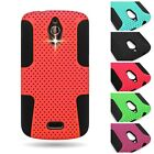 For Huawei Vitria H882L Hybrid Dual Layer Hard Mesh + Silicone Skin Cover Case
