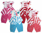 Girls Stripe Corsage Top & Bow Gem Shorts Set Outfit 2 to 6 Years NEW
