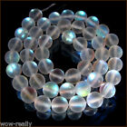 Natural 6/8/10/12mm Gleamy Rainbow Moonstone Round Gems Loose Beads 15''Strand
