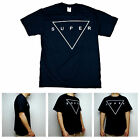 SA106 Mens Super Triangle Shield Minimal Typography Clean Graphic Black T Shirt