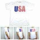 SA106 Mens American Freedom Flag Print Patriotic USA Graphic White T Shirt