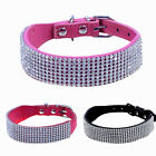 Puppy Cat Collar Crystal Bling Diamante Rhinestone PU Leather Adjustable Collars