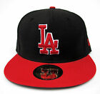 LA Dodgers Black On Red All Sizes Fitted Cap Hat by New Era