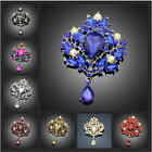 Gorgeous Flower Floral Tear Large Drop Brooch Pin Crystal Glass Teardrop Pendant