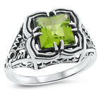 GENUINE PERIDOT .925 STERLING SILVER ANTIQUE DESIGN RING,                   #716