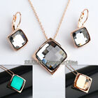 A1-S121 Fashion CZ Simulated Emerald Topaz Necklace Earrings Jewelry Set Crystal