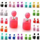 Fashion Women Solid Candy Color Square Double Sided Earrrings Two Ball Ear Studs