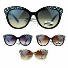 CG Eyewear Iced Out Rhinestone Bling Diva Horn Rim Cat Eye Sunglasses