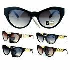 VG Eyewear Womens Bling Metal Chain Thick Plastic Cat Eye Diva Sunglasses