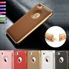 Luxury Aluminum Metal Bumper Leather Case Cover For iPhone 5 5S Screen Protector