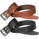 "Carhartt Belt Men 1-3/4"" Leather Logo Belts 2217 Double Prong Buckle Black Brown"