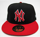 NY Yankees Black On Red All Sizes Fitted Cap Hat by New Era
