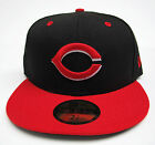 Cincinnati Reds Black On Red All Sizes Fitted Cap Hat by New Era