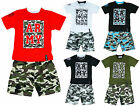 Boys Army Logo T-Shirt Top and Camo Combat Shorts Set 2 to 12 Years NEW