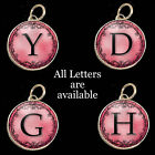 Initials Letters Red-Pink Vtg Typewriter Key Size Necklace Pewter Charm Pendant